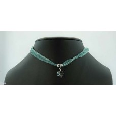 Clover with silk bracelet/necklace (seagreen)