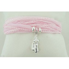 Ballet shoes with silk bracelet/necklace (light pink)