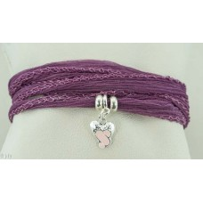 Ballet shoes with silk bracelet/necklace (pink)