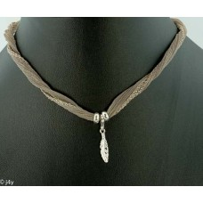 Feather with silk bracelet/necklace