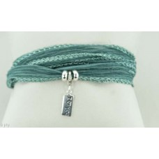 I love you with silk bracelet/necklace (seagreen)